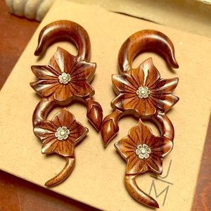 0g Wooden with Metal Inlay Hanging Earrings